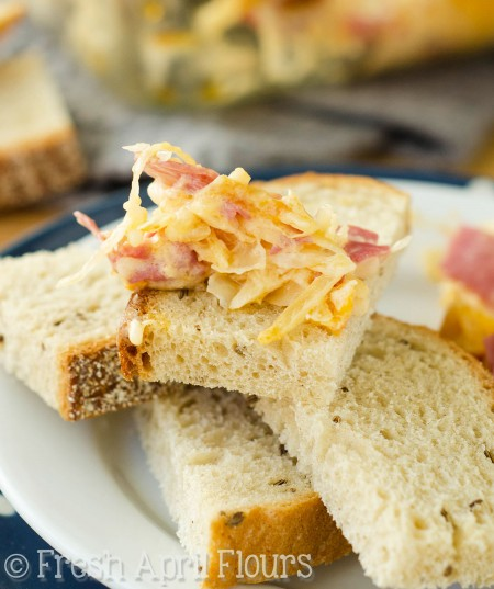 Reuben Dip: Loaded with corned beef, sauerkraut, Thousand Island dressing, and plenty of cheese, this dip will be your new favorite way to enjoy the classic sandwich-- in dippable form!