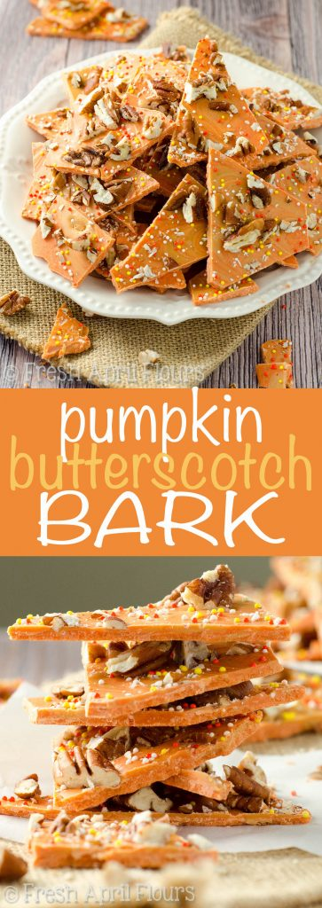 Pumpkin Butterscotch Bark: An easy bark made with pumpkin spice candy melts, butterscotch chips, and chopped nuts. Great for Halloween goodie bags!