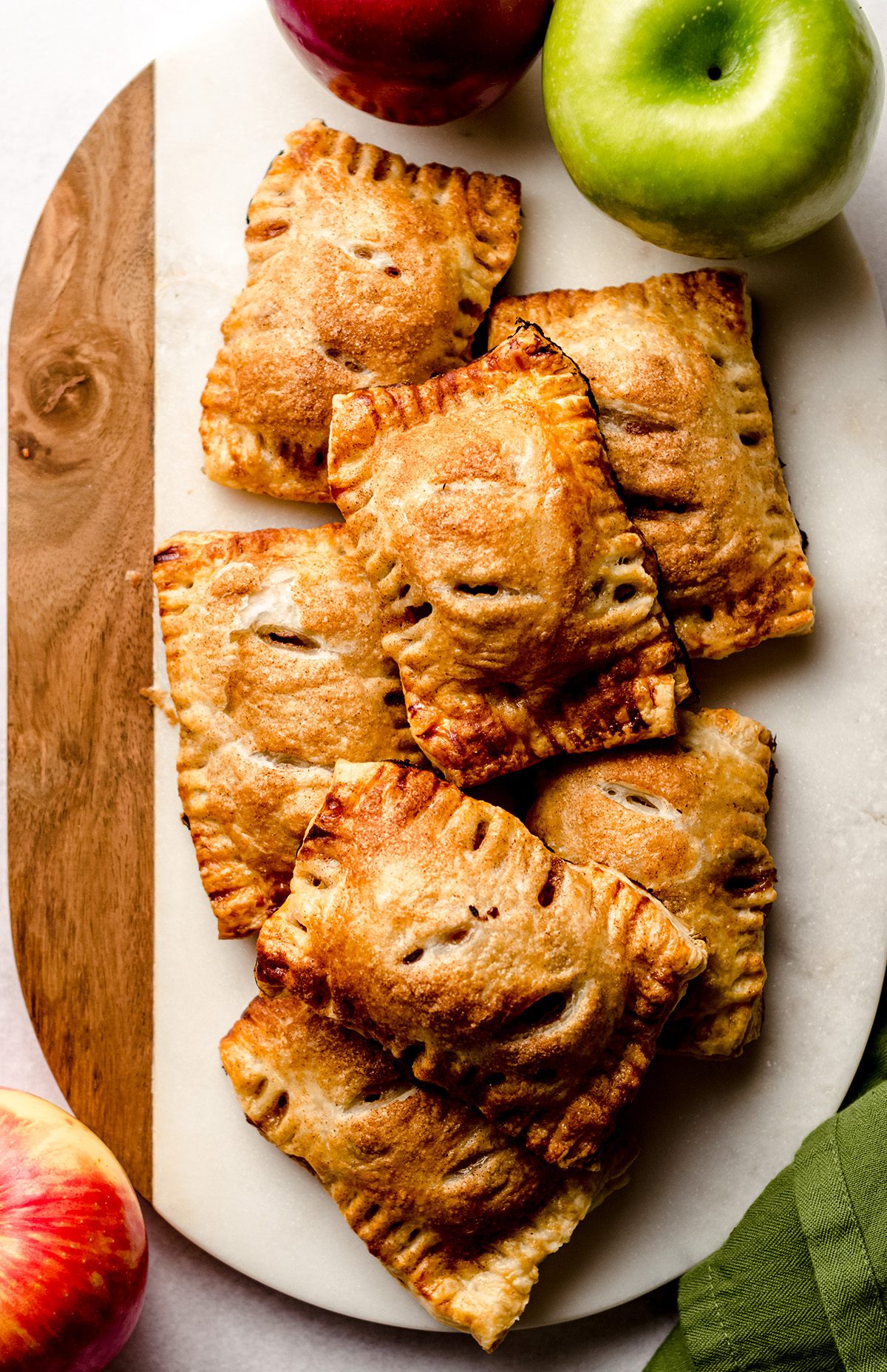 aerial photo of apple hand pies on a platter