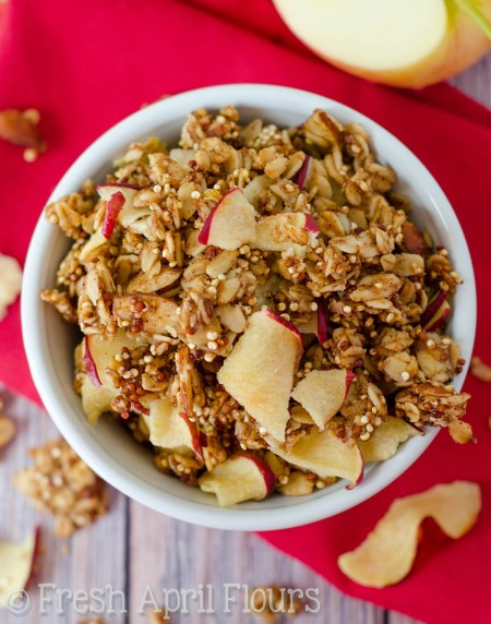 Apple Quinoa Granola: Easy granola spiced with cinnamon, nutmeg, and cloves and bursting with apple flavor. A must-have fall treat!