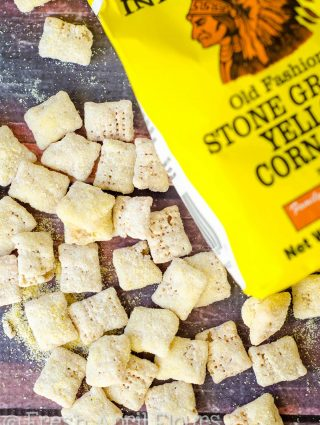 Cornbread Puppy Chow: A sweet and buttery puppy chow snack flavored like classic cornbread.