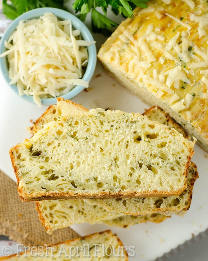 Eva's Parmesan Parsley Bread: A quick and easy (no rising!) yeast bread filled with tangy Parmesan and slightly bitter parsley.