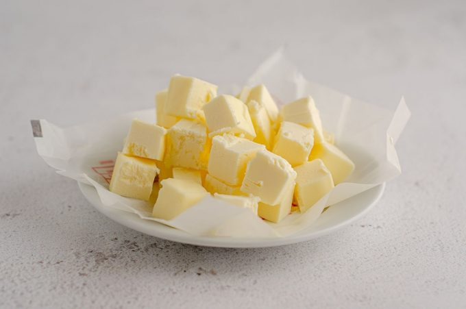 cubed butter on a plate