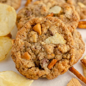compost cookie with chips and pretzel pieces
