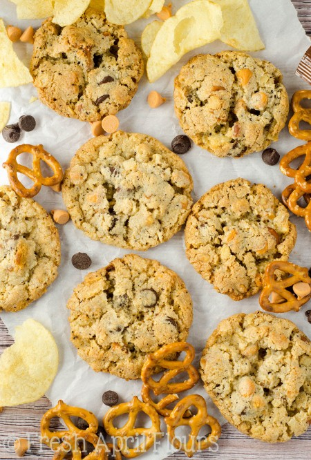 Milk Bar's Compost Cookies®: Crispy, buttery cookies filled with butterscotch and chocolate chips, graham crackers, oats, coffee grounds, pretzels, and potato chips. The perfect cookie for indecisive dessert lovers!