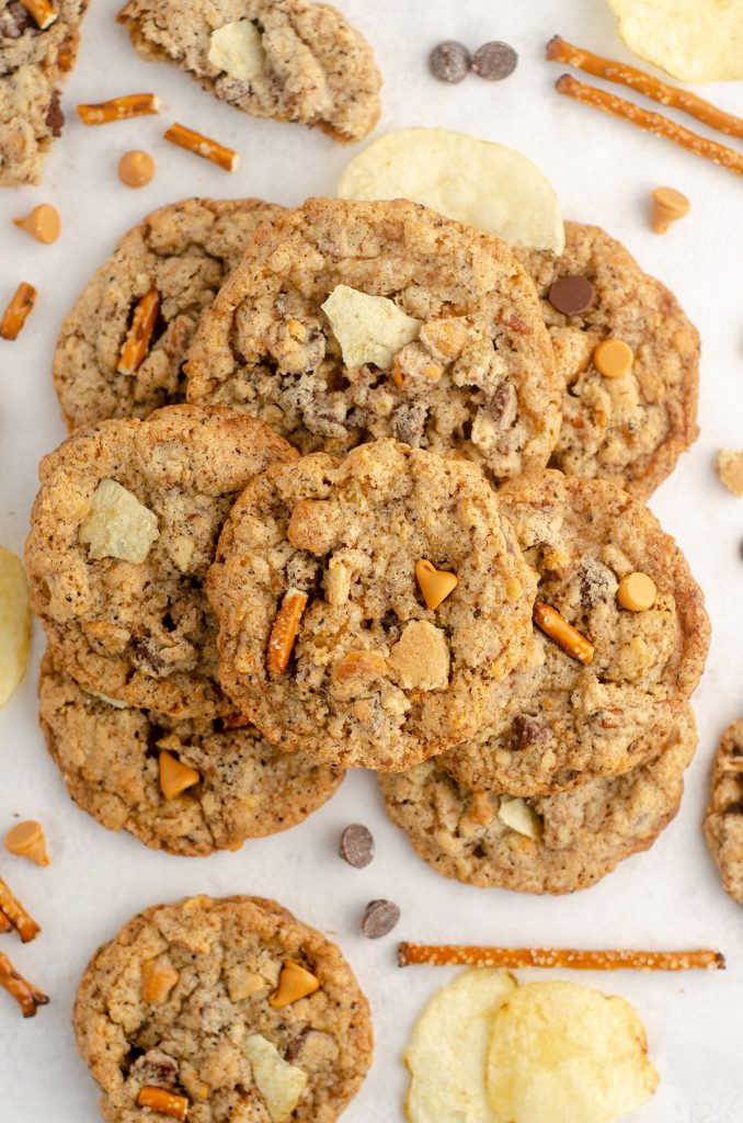 aerial photo of compost cookie with chips, pretzel pieces, and chocolate chips