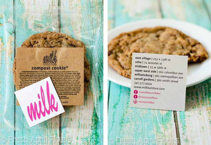 milk bar's compost cookie sitting on a plate with the milk bar logo and business card