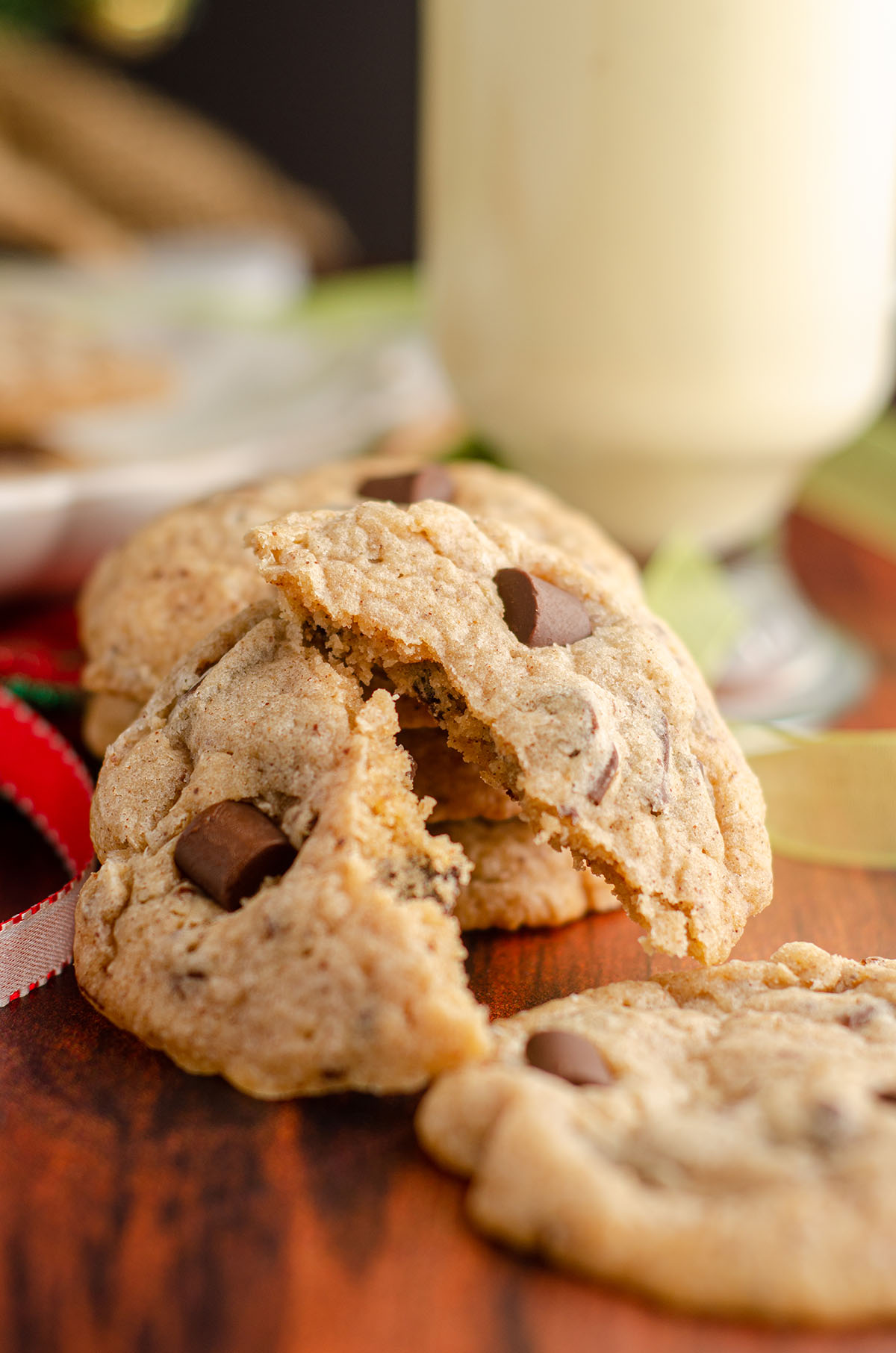 eggnog chocolate chunk cookie broken in half cookie