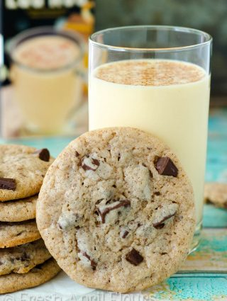 Eggnog Chocolate Chunk Cookies: Tender cookies with crunchy edges spiced with cinnamon, nutmeg, and actual eggnog. Chocolate chunks add the perfect complement to all the spice!