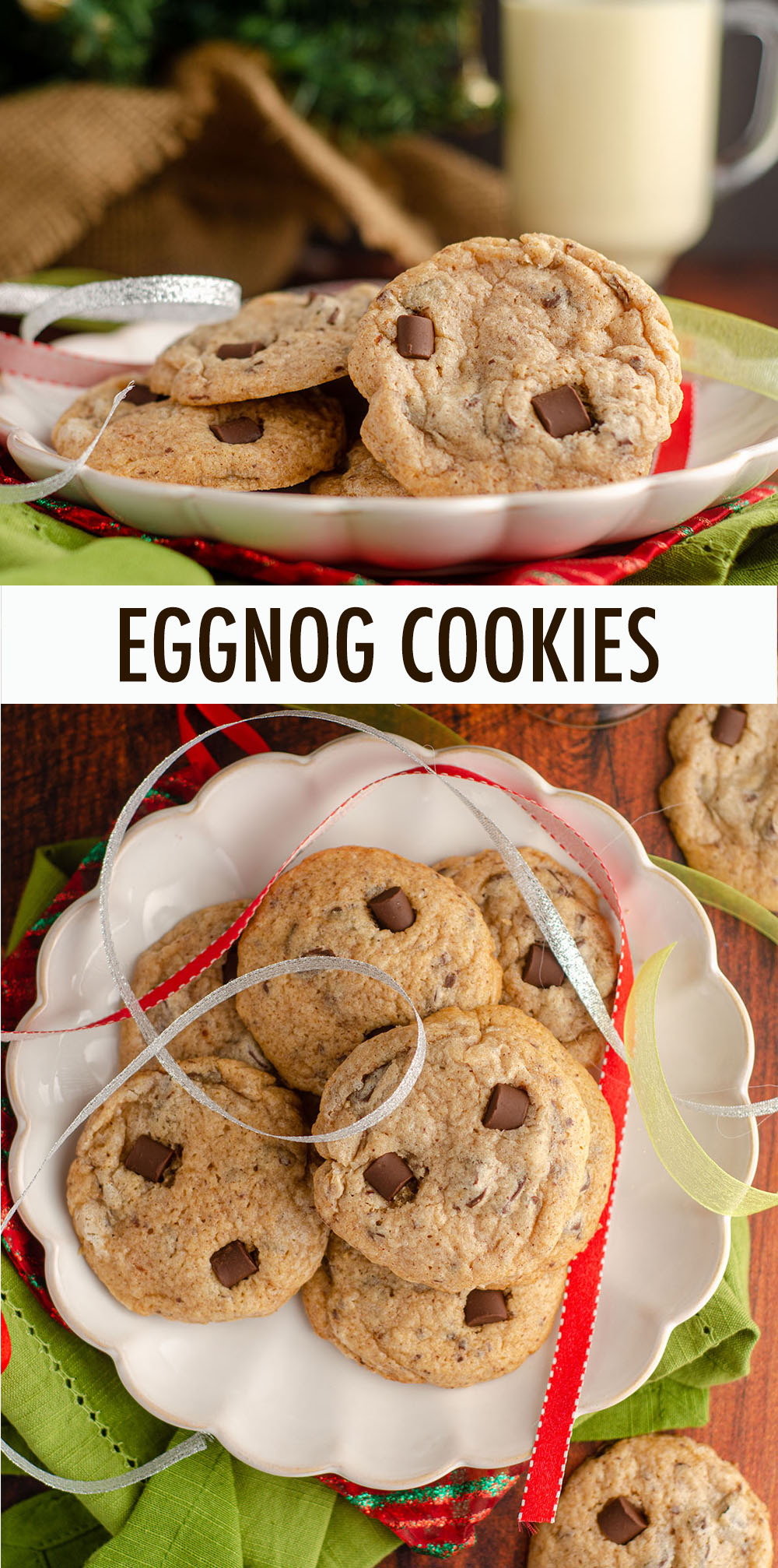 Tender cookies with crunchy edges spiced with cinnamon, nutmeg, and actual eggnog. Chocolate chunks add the perfect complement to all the spice!