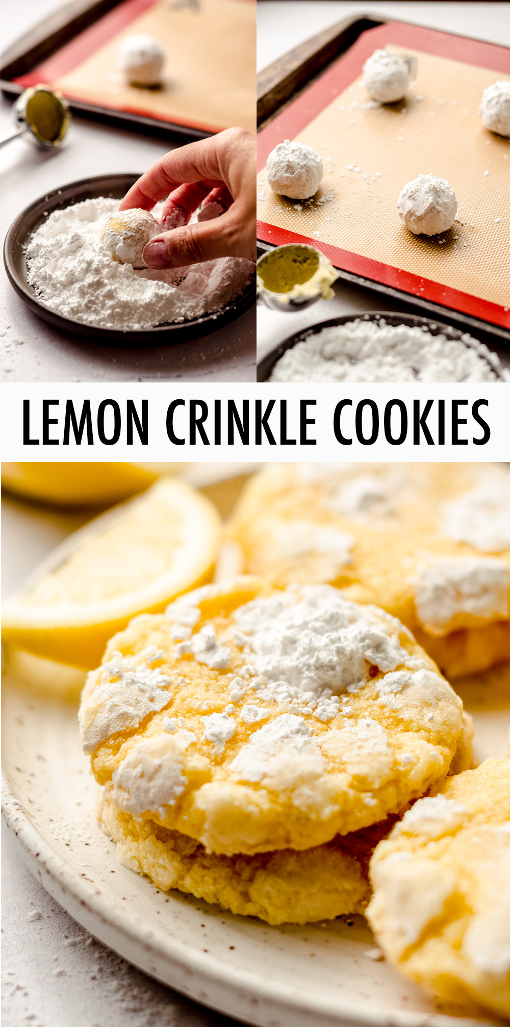 Sweet and tart crinkle cookies bursting with bright lemon flavor.