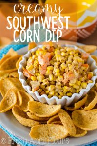 Creamy Southwest Con Dip: Lightened up creamy corn dip, spiced with homemade taco seasoning. Great with corn or tortilla chips!