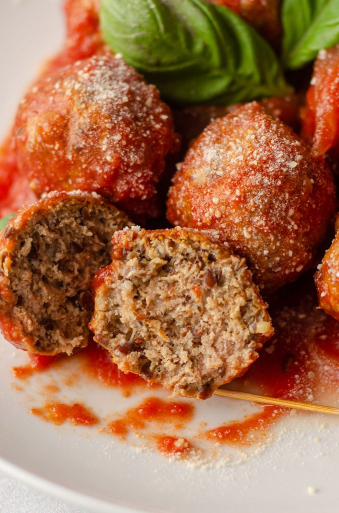 gluten free meatball cut in half to see the inside