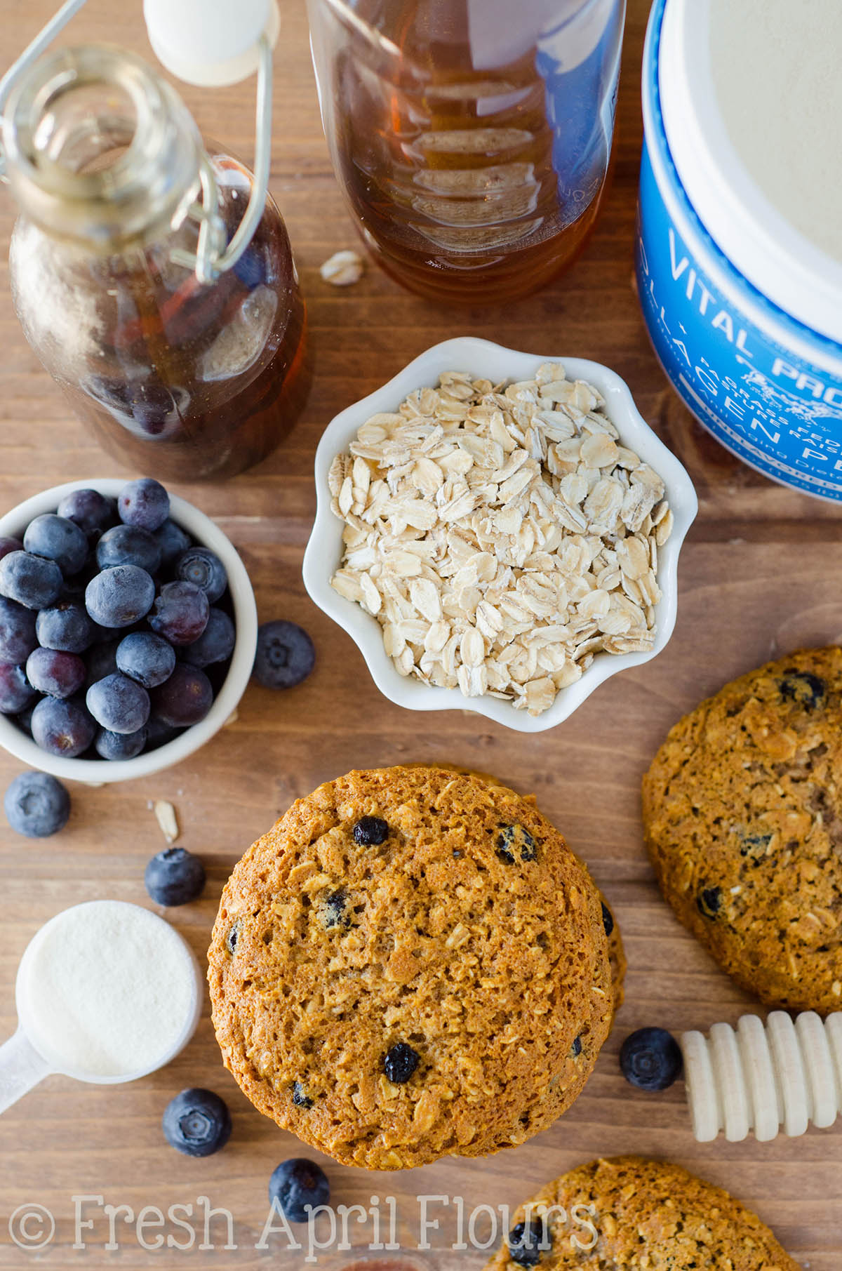 Blueberry Oatmeal Protein Cookies
