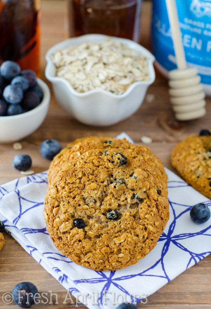 Blueberry Oatmeal Protein Cookies: A simple oatmeal cookie bursting with bright blueberries, sweetened without refined sugar, and packed with an extra boost of protein.