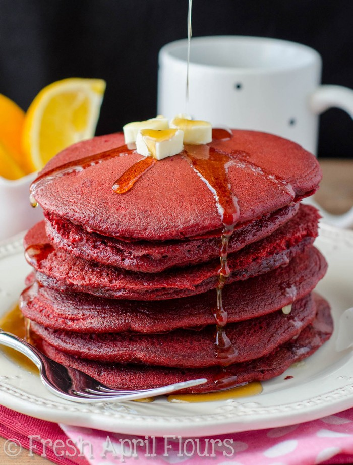 Red Velvet Pancakes: Light and fluffy pancakes made easily with red velvet cake mix. Ready in no time so you can enjoy Valentine's Day breakfast with your sweetie!