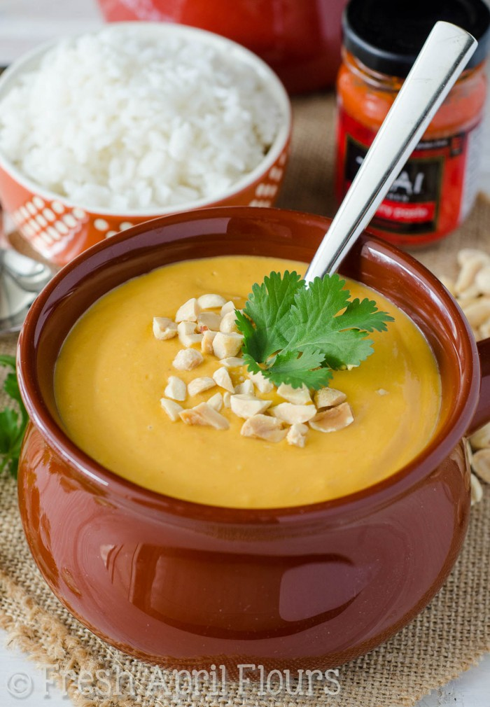 Thai Peanut Soup: Nutty and flavorful soup, filled with lots of veggies, a little bit of heat, and all of the flavors you love about Thai food. Serve over rice, add some meat, or add noodles to make this suit your meal needs and tastebuds.