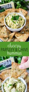 Cheesy Parsley & Chive Hummus: Easy homemade hummus seasoned with fresh herbs and kicked up a notch with parsley and chive cheese.