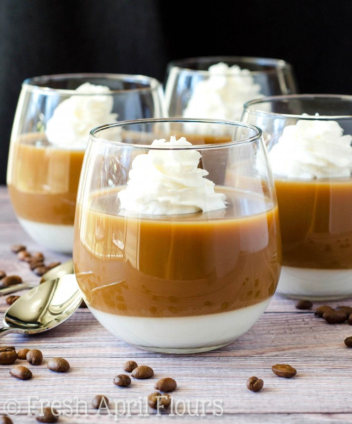 Coffee & Cream Gelatin Parfaits: Easy gelatin parfait cups featuring layers of lightly sweetened coffee and rich cream. A creative way to serve coffee after dinner, during the summer, or just any time you're feeling fancy with your cup of Joe!