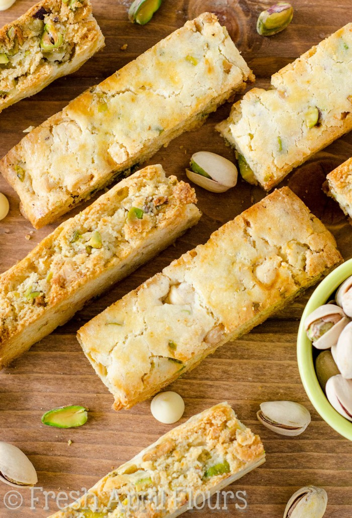Pistachio White Chocolate Chip Biscotti: Crunchy biscotti dotted with salty pistachios and sweet, creamy white chocolate chips.