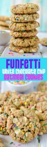 Funfetti White Chocolate Chip Oatmeal Cookies: Soft and chewy oatmeal cookies filled with white chocolate chips and plenty of sprinkles for celebrating any occasion!