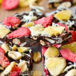 Banana Split Bark: Easy chocolate bark made with bananas, pineapples, strawberries, and peanuts.