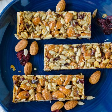 Cranberry Almond Vanilla Protein Bars: Grain free, gluten free, and wholesome protein bars filled with wholesome ingredients and a hefty dose of natural protein. Perfect for on-the-go snacking!