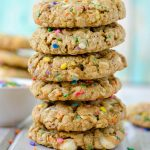 Funfetti White Chocolate Chip Oatmeal Cookies