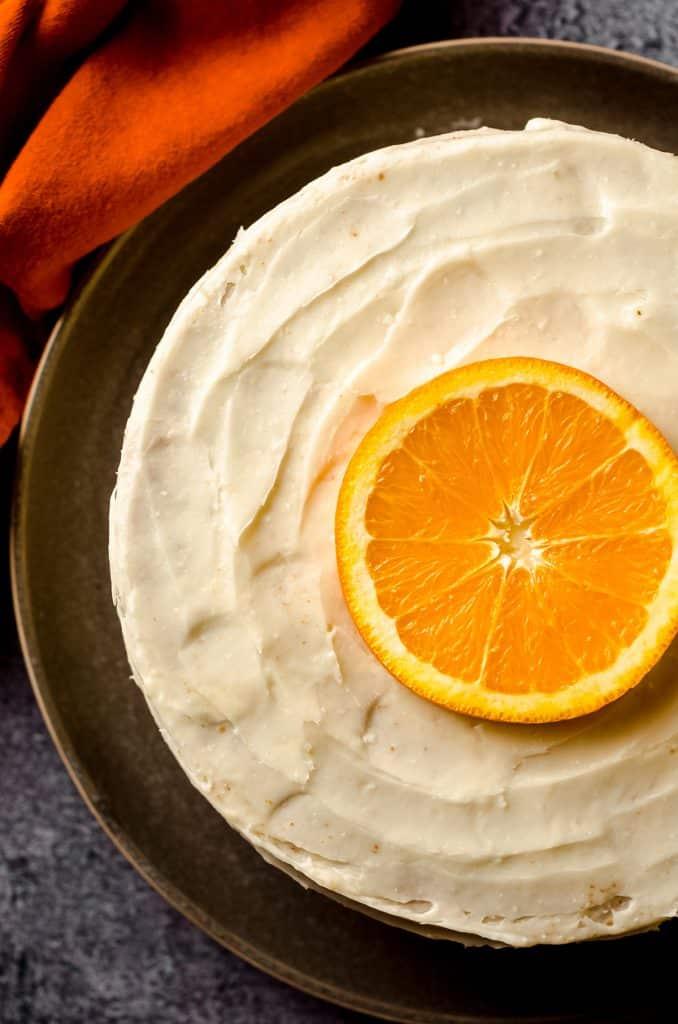 aerial photo of orange creamsicle layer cake