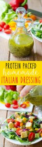 Protein Packed Homemade Italian Dressing: Easy homemade Italian dressing packed with flavor and lots of herbs and spices (and a surprise punch of protein!) to jazz up your fresh salads and veggies.