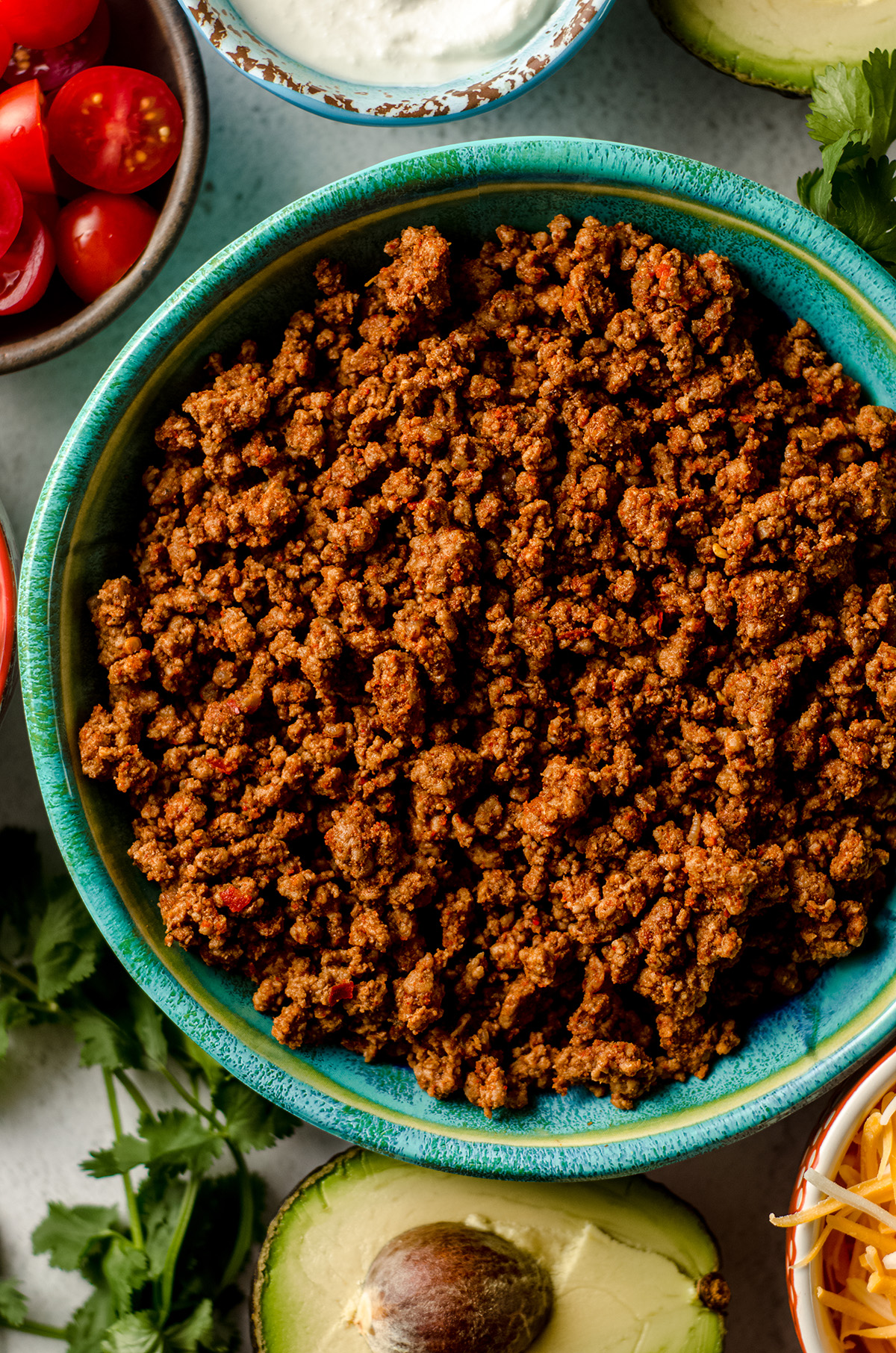 browned seasoned taco meat in a bowl