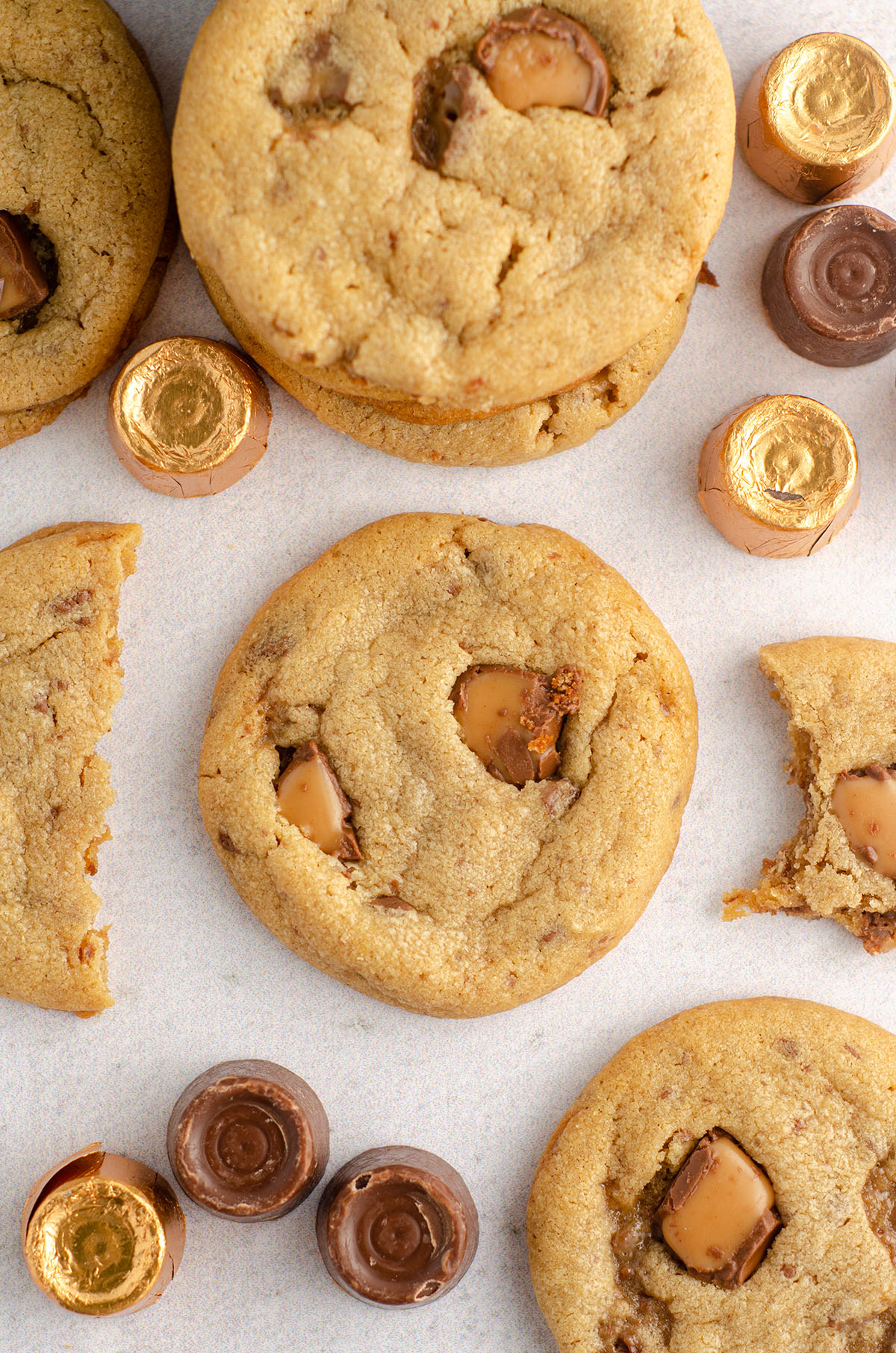 aerial photo of peanut butter rolo cookies surrounded by rolos