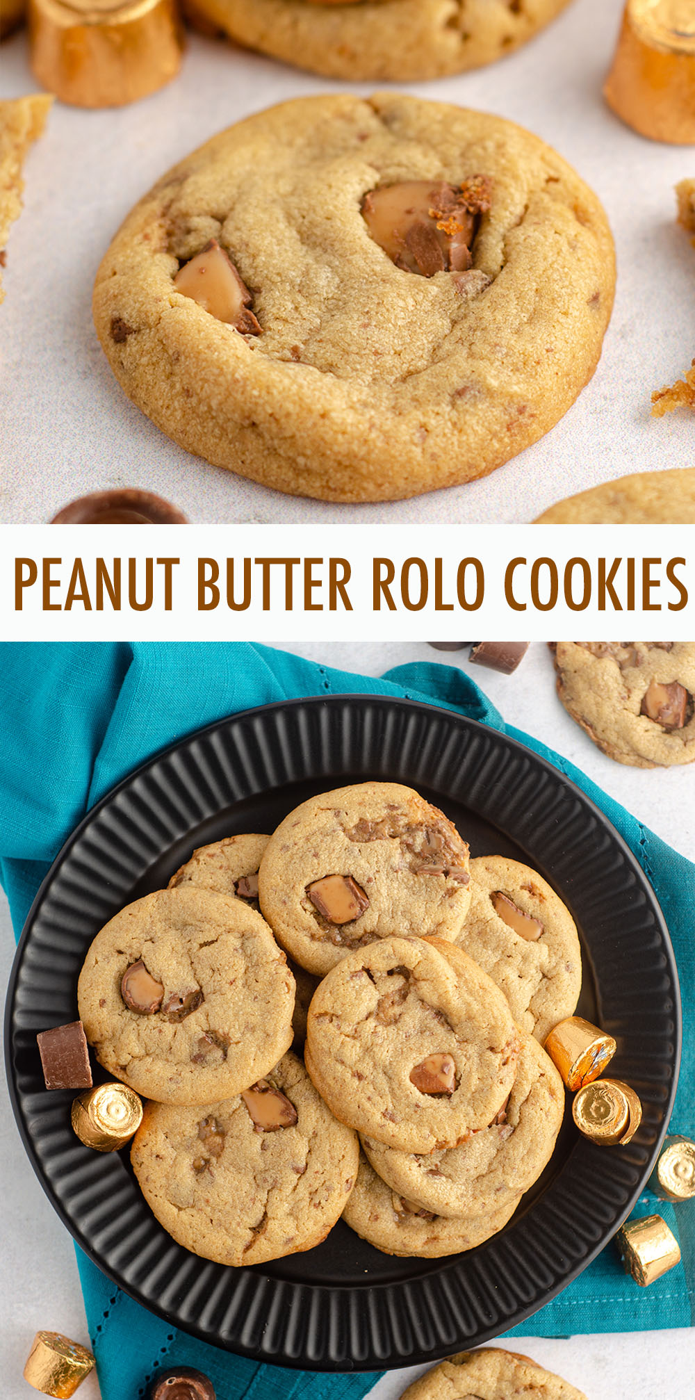 Soft and chewy peanut butter cookies filled with chopped Rolos.