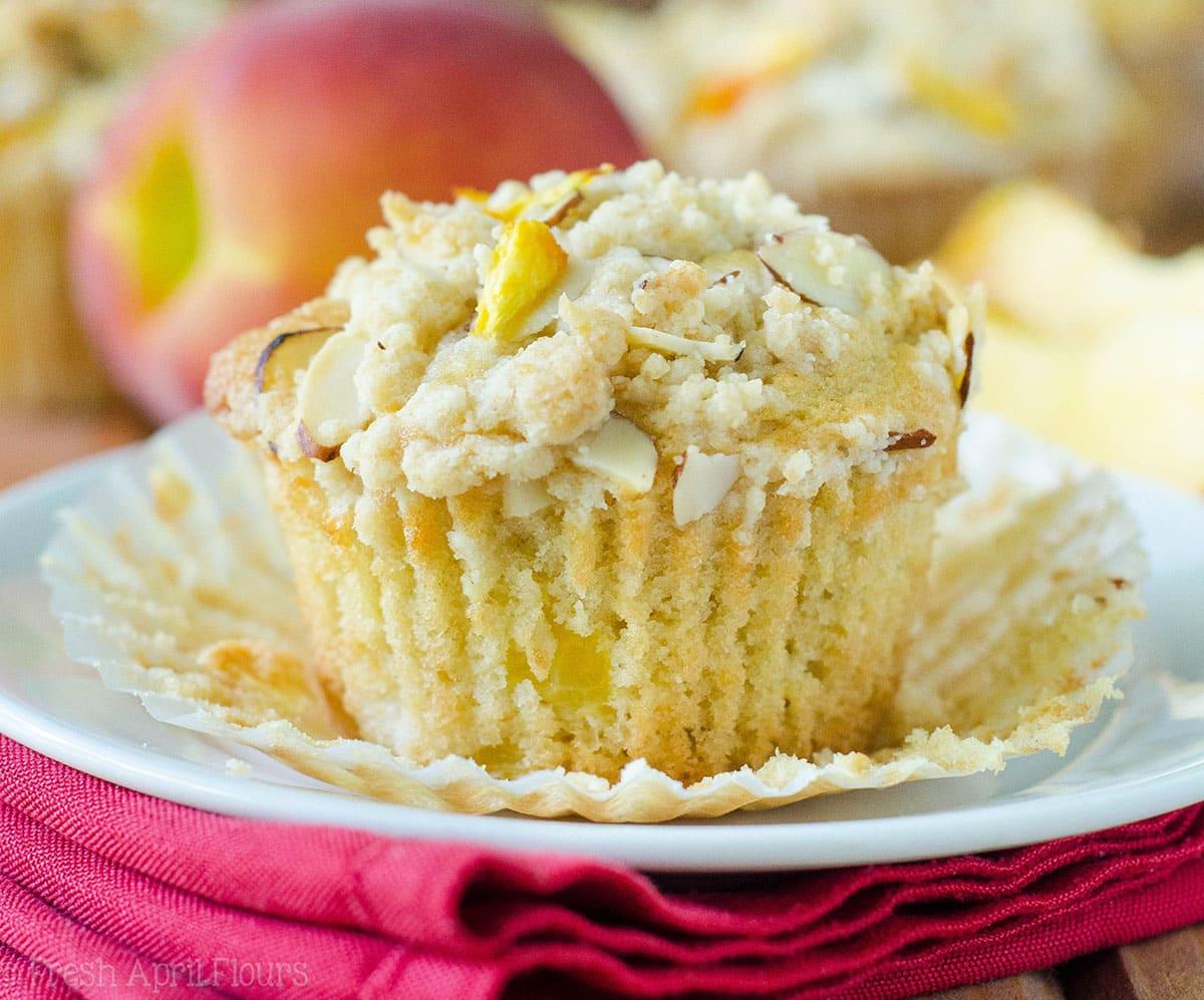 Peach Almond Streusel Muffins