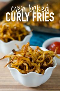 Oven Baked Curly Fries: Crisp and flavorful curly fries from your very own oven. Perfect as a side dish or when that craving hits! Ready in less than 15 minutes.