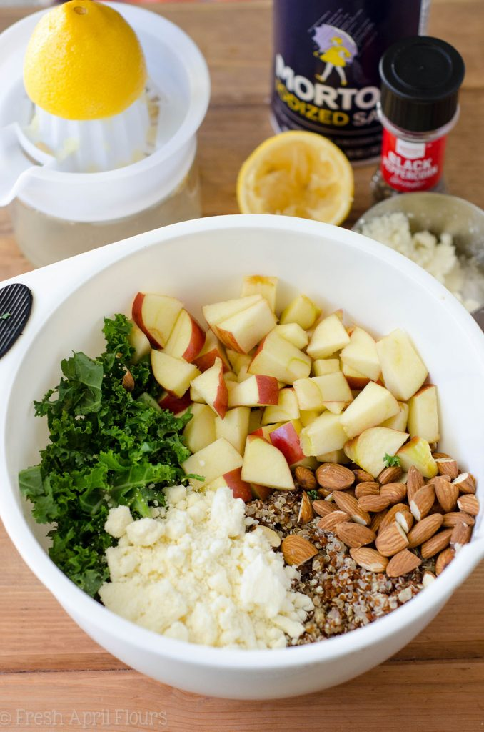 Apple, Quinoa, and Almond Kale Salad: An easy, no bake side dish packed with flavor, fiber, and protein.