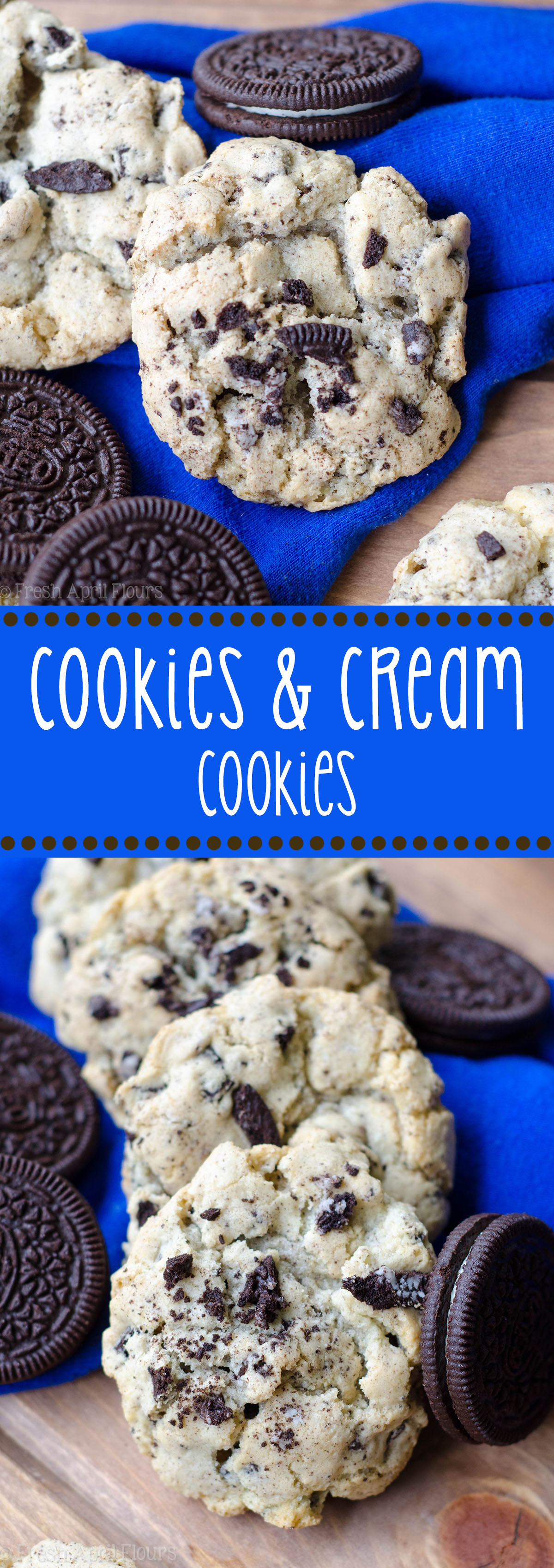 Cookies & Cream Cookies: Easy and basic sugar cookies filled with chopped Oreos. Great for multi-colored holiday Oreos.
