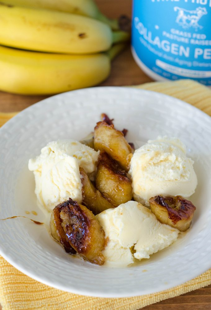 Easy Bananas Foster: A quick and easy recipe for Bananas Foster using collagen peptides and Amaretto liqueur.