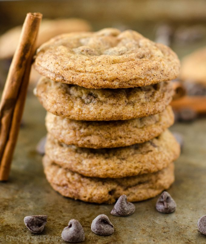 Snickerdoodle Chocolate Chip Pudding Cookies: Soft and chewy pudding cookies filled with chocolate chips with a generous cinnamon-sugar coating.