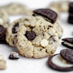 Cookies & Cream Cookies: Chewy, no chill white chocolate chip cookies filled with chunks of crunchy Oreo cookies.