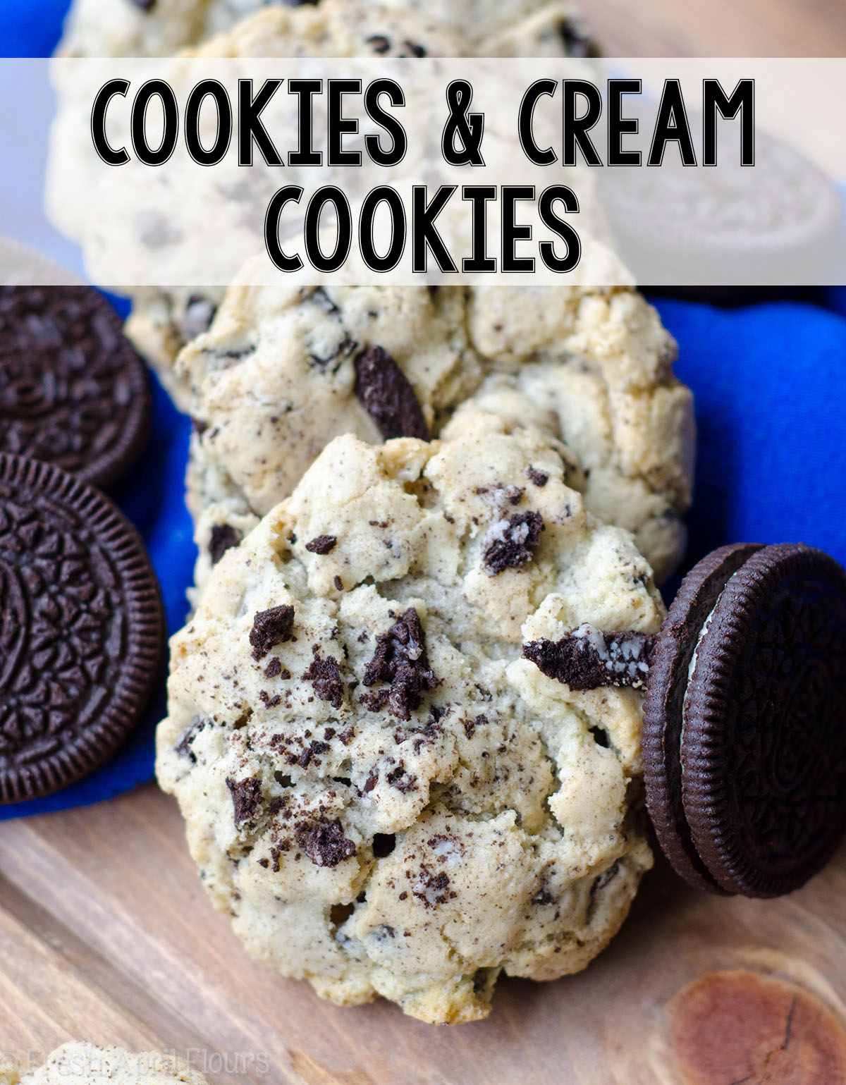 Easy and basic sugar cookies filled with chopped Oreos. Great for multi-colored holiday Oreos.