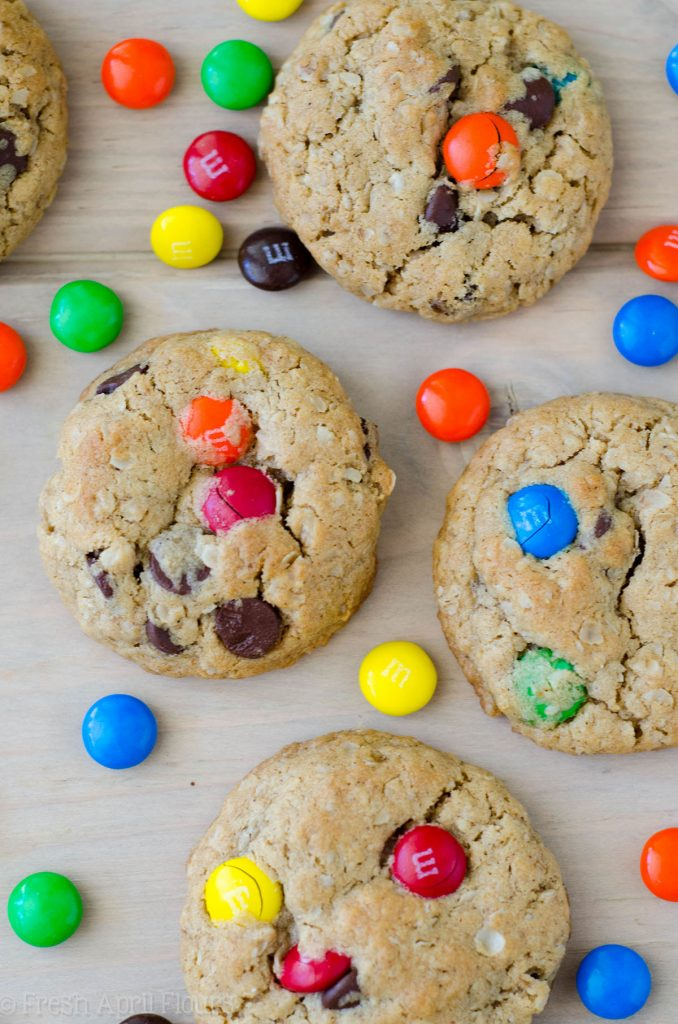 Monster Cookies: Quick and easy peanut butter oatmeal cookies filled with chocolate chips and m&m's.