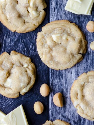 White Chocolate Chunk Macadamia Nut Cookies: A cookie jar classic-- buttery cookies filled with creamy white chocolate and crunchy macadamia nuts.