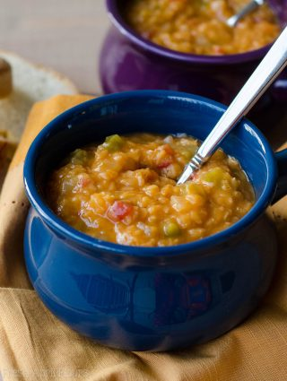 Red Lentil Chili: An easy recipe for vegetarian/vegan chili made with hearty lentils and plenty of spice.