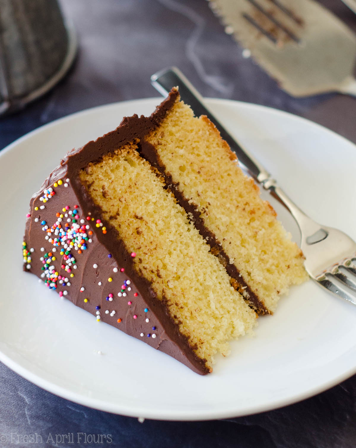 Butter Yellow Cake With Chocolate Frosting