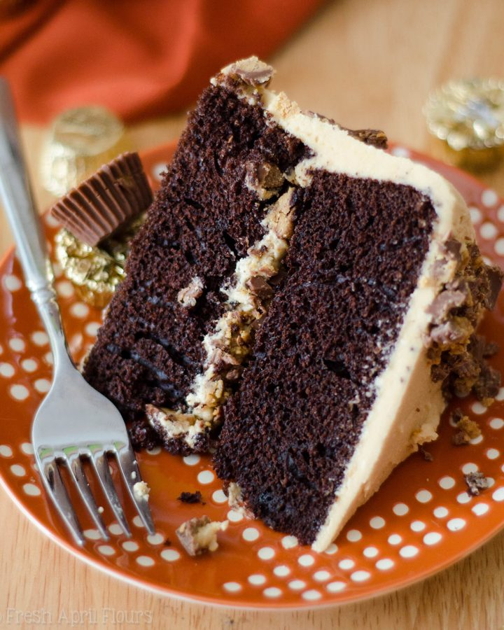 Dark Chocolate Layer Cake with Peanut Butter Frosting: An easy two-layer dark chocolate cake covered in creamy, dreamy peanut butter frosting, all from scratch!