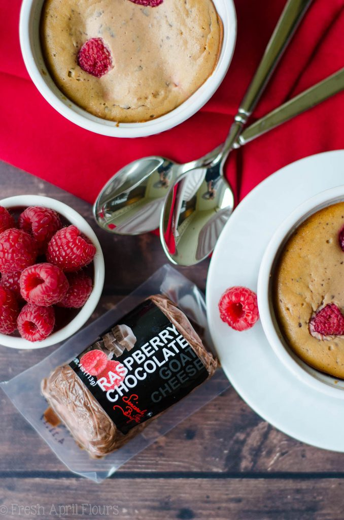 Chocolate Raspberry Goat Cheese Cheesecakes (For 2): Simple, personal sized, gluten free cheesecakes made with chocolate raspberry goat cheese and fresh raspberries.