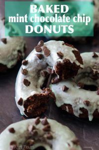 Baked Mint Chocolate Chip Donuts: Simple chocolate chip donuts topped with a simple mint glaze.