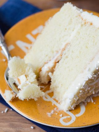White Layer Cake with Whipped Cream Buttercream: A perfectly moist and simple white cake paired with a light and fluffy whipped frosting.