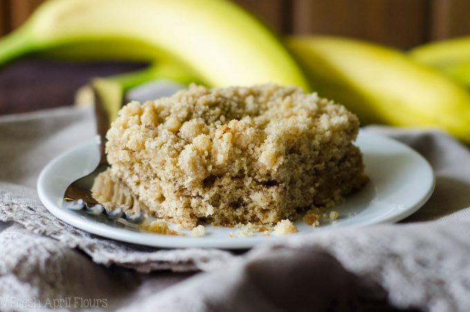 Banana Crunch Snack Cake: A simple and perfectly moist banana cake with a fine sandy crumb topping.